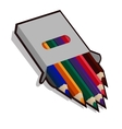 Pencil case with colored pencils for drawing vector image vector image