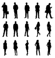People Standing Black Silhouette vector image vector image