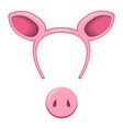 pig mask for a holiday with a hoop for the head vector image vector image
