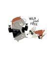 rock n roll cartoon animals vector image