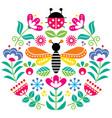 scandinavian folk flowers design cute vector image vector image