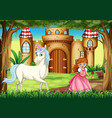 scene with princess and unicorn vector image vector image