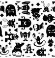 seamless black and white pattern with monsters vector image vector image