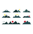 set of mountain on white background easy editable vector image