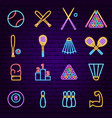 sport items neon icons vector image vector image