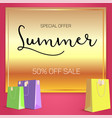 summer sale ad selling banner on gold background vector image vector image