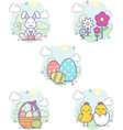 sweet and cute easter icon collection 2 vector image