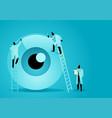 team doctors diagnose human eye vector image