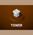 tower isometric icon isolated on color background vector image