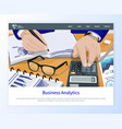workers hands counting business analytics vector image vector image
