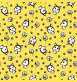 yellow seamless pattern with cats with outline vector image