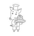cheerful pig with sweet cake cartoon happy vector image