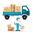 delivery man with boxes on car flat design vector image