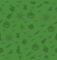 halloween seamless pattern with bats on green vector image
