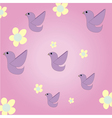 beautiful pink background with birds and flowers vector image