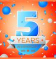 five years anniversary celebration vector image