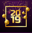 2019 happy new year with gold number vector image vector image