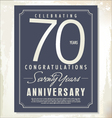 70 years anniversary background vector image vector image