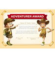 Adventure award with two children background vector image vector image