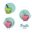 apples cute fruits cartoons vector image vector image