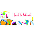 back to school again banner horizontal flat style vector image