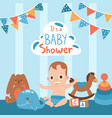 bashower cute little boy vector image