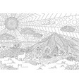 black and white image with beautiful landscape vector image