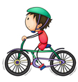 Boy and bicycle vector image vector image