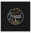 bread shop logo round linear bread house vector image vector image
