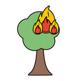 burning tree cartoon vector image
