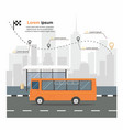 bus at the bus stop on background of city vector image vector image