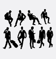 Businessman sitting and standing silhouettes vector image vector image