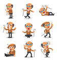 Cartoon senior man character poses vector image