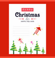 christmas invitation card with tree abd red vector image