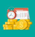 clock calendar and golden coins vector image