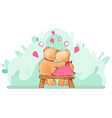 couple teddy bears on bench hugging vector image vector image