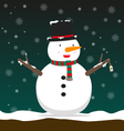 cute big fat snowman wear hat and scarf vector image