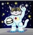 cute cat in astronaut costume vector image