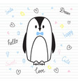 cute hand drawn postcard with funny penguin card vector image vector image