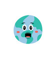 cute screaming with open mouth earth planet vector image vector image
