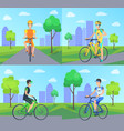 cyclists with smile riding vector image vector image