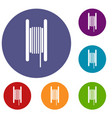 electric cable in coil icons set vector image vector image