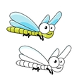 Funny cartoon green dragonfly insect vector image vector image