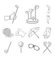 golf and attributes outline icons in set vector image