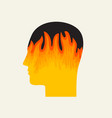 human head in profile with a fire stress icon vector image vector image