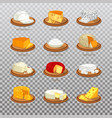 isolated cheese food like parmesan and mozzarella vector image vector image