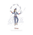 juggler performing professional actor in circus vector image vector image