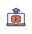 laptop with play button educational video online vector image vector image
