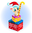 little cute kitten sitting on boxes with sweet vector image vector image
