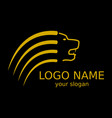 logo of a yellow lion on a black background vector image vector image